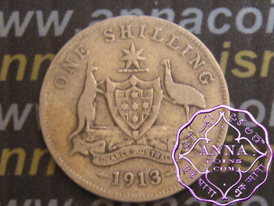 Australia 1913 George V Shilling X1, Average Circulated Condition