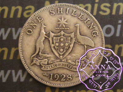Australia 1928 George V Shilling X1, Average Circulated Condition