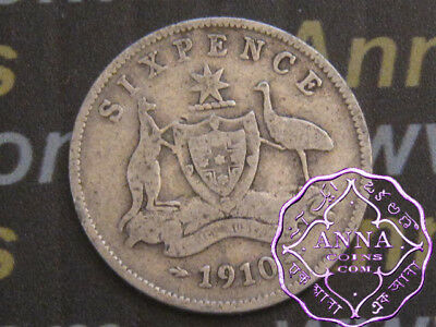 Australia 1910 Edward VII Sixpence X1, Average Circulated Condition