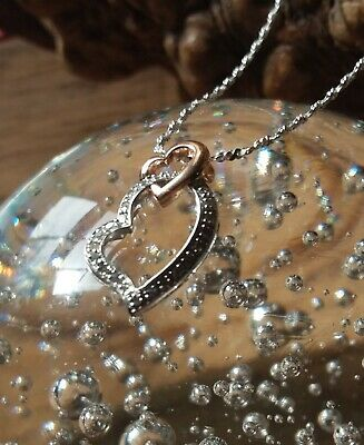 14-K Gold Sterling Silver Diamond Two-tone Double Heart Pendant and Chain #P68