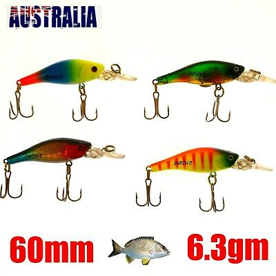 4 Redfin & Bream Freshwater Fishing Lures, Flathead, Bass, Perch,Trout,Cod Lure