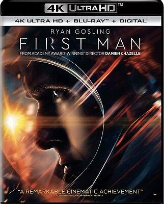 First Man(4K Ultra Hd+Blu-Ray+Digital)W/slipcover New Factory Sealed