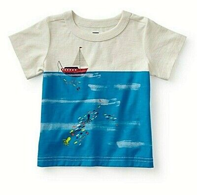 TEA COLLECTION Catch and Release S/S Tee - Chalk - NWT Boys 18-24 month