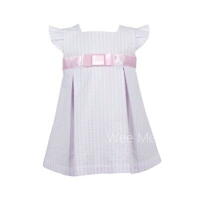*LAST ONE* SS19 Gorgeous Baby Girl Pink Seersucker Spanish High Up Dress Bow