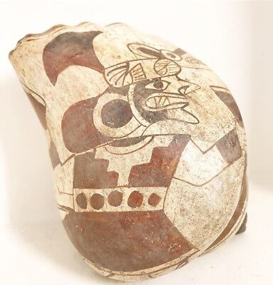 Pre Columbian Fineline Moche Peruvian Pottery Conch Shell Whistle
