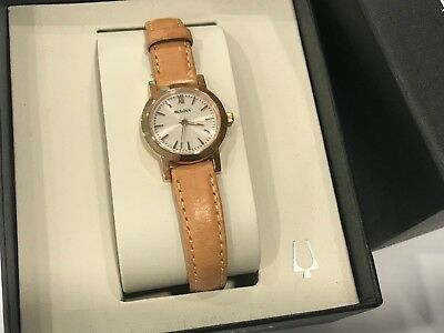 Bulova 97L148 Ladies Classic Silver Dial Rose Gold Case Beige Leather 24mm Watch