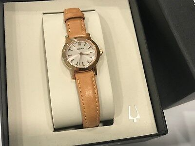 dcbc52b82 Bulova 97L148 Ladies Classic Silver Dial Rose Gold Case Beige Leather 24mm  Watch