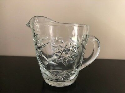 Cut Glass Star Creamer Small Pitcher Holds 8 oz