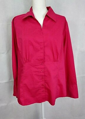 CATO woman size 18/20W pink long sleeve botton down cotton poly stretch top