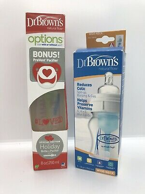 Set of 2 Dr Browns 8 Oz. bottles, Special Edition, bonus pacifier, New in Boxes!