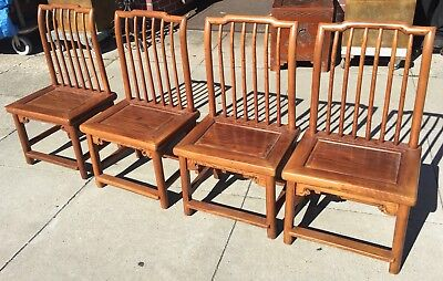 Set of 4 Antique Elmwood Tea Table Chairs