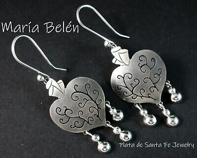 "Maria Belen~Small Charm~""Depth of Heart"" Milagro~Oxidized 925 Mexican Earrings"