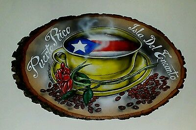 Puerto Rico artwork on a natural tree  plack. Measures about 17 x 11 x 1 inch .