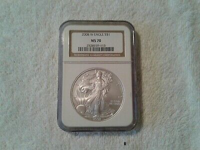 2008 -W Burnished Silver Eagle Ngc  Ms 70  Brown Label