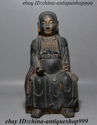 "10"" Antique Chinese Bronze Gilt Zhenwu emperor Jinque incarnation Emperor Statue"