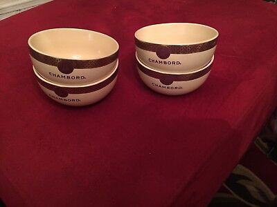 Set of 4 Chambord Black Raspberry Liqueur Royale Ice Cream Dessert Bowls France