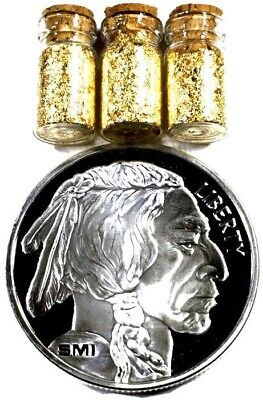 1 Troy Ounce .999 Fine Silver Bullion Smi Buffalo Bu + 3 Jars 24K Gold Flakes