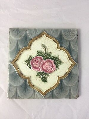 Antique Majolica Art Pottery Tile Rose Victorian HR Johnson England