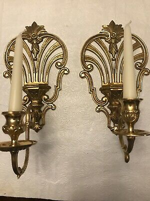 """Vintage Set of 2 Pure Brass Wall Sconces, Candle holders 12""""H"""