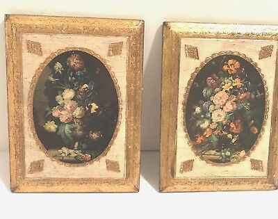 """Vintage PAIR Italian Gold Florentine Wood Wall Plaques Floral Still Life 6""""x8"""""""