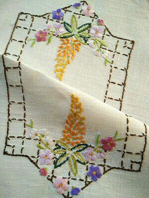 Gorgeous Lupin Flowers & Florals  ~ Vintage Hand embroidered Centrepiece