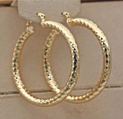 "18K Gold Filled Earrings 2.1"" Big Hoop Geometry Concave Bling Bling Party L8"