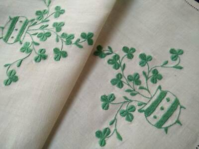 Gorgeous Green Clover/Shamrocks Urns ~ Vintage Heavily Embroidered Centre/mat