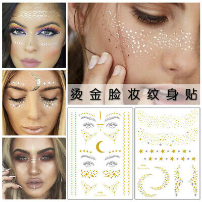 Body Adhesive Glitter Stickers Tattoo Face Eye Blocked Freckles Party Festival