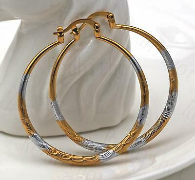 "18K Gold Filled Earrings 1.7"" Big Hoop 2-Color-Plated Geometry Concave Party L8"