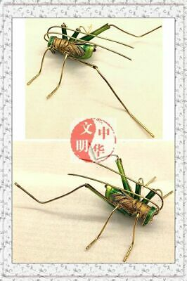 VINTAGE MingQingKingdom SONG INSECT GRYLLID GOLD SILVER CLOISONNE CRICKET STATUE