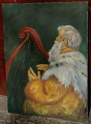 Original Large Portrait Oil on Canvas of an Old Man Playing a Harp Signed Agi