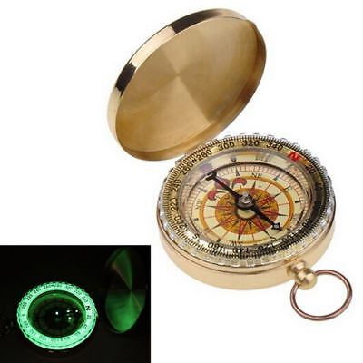 Vintage Brass Style Compass with Lid - Old Nautical Pocket Chain USA Hot Gift