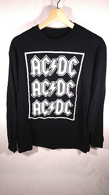 AC/DC White Logo Stacked Long Sleeve L/S Solid Black T Shirt Size M 2016 EUC