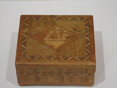 Antique Marquetry Inlaid Wood Powder Box Clipper Ship Design On Lid