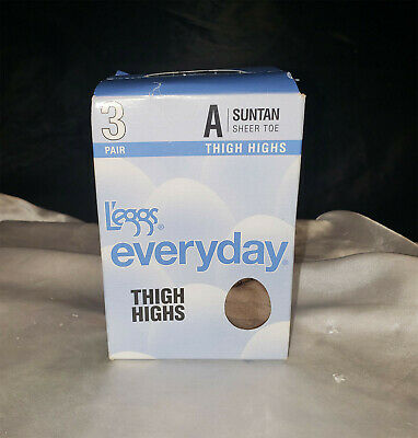 b892ac2477f New Leggs Everyday Sheer Toe Thigh Highs 3 Pair - Suntan - Size A