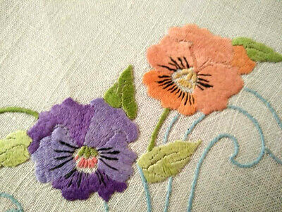 Stunning Pansy Flowers  ~ Vintage Hand Embroidered Doily - 2 available