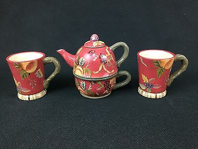 Tracy Porter Octavia Hill Tea for One Teapot Cup & TWO (2) Mugs