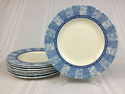 Johnson Brothers Waterfall EIGHT 8 1/4 Inch Salad Plates Blue White