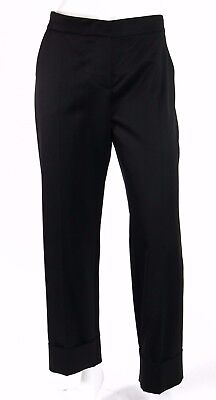 GIVENCHY $1,125 NWT Black Wool Gabardine Cuffed Pants 38