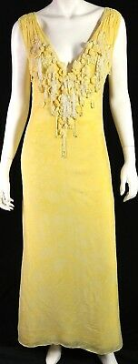 9b65cee64c60 BADGLEY MISCHKA Canary Yellow Floral Silk Beaded Tulle Evening Gown 10