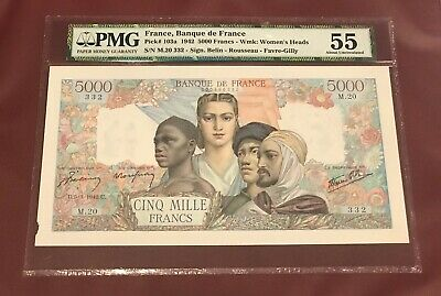 FRANCE 5000 FRANCS 1942 PMG 55 AUNC PIck 102a FRENCH EMPIRE SIGNED FARVE GILLY