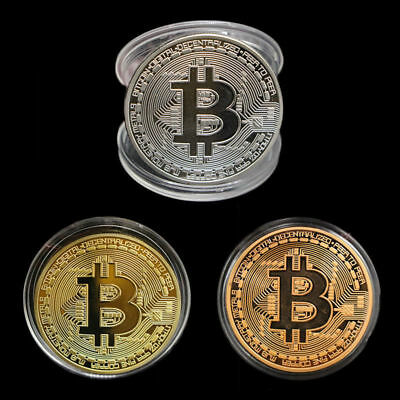 3 Pièces collectible BTC coin gold silver bronze commemorative bitcoin.