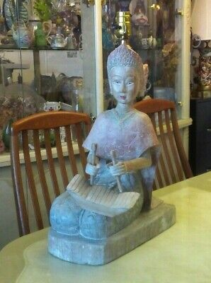 Vintage hand carved solid Wood Asian/ Oriental Female Lamp Statue Beautiful!!!!