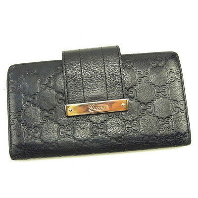 3d1c70d3017270 Gucci Wallet Purse Guccissima Black Gold Woman unisex Authentic Used Y7002