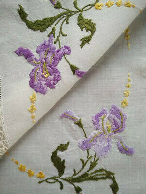 Charming Purple Bearded Iris   ~ Vintage Hand Embroidered Centrepiece