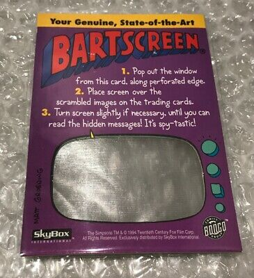 The Simpsons Cards Rare BARTSCREEN Mail Away SKYBOX 1994