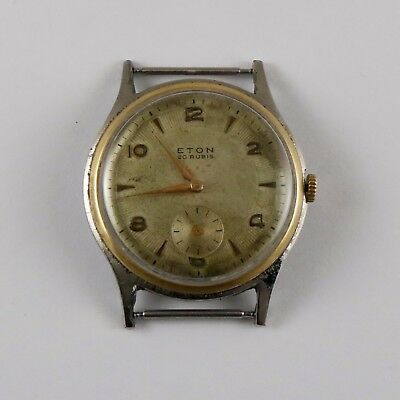 ANTIQUE VINTAGE SWISS ART DECO WRISTWATCH ETON 20 JEWELS 37.5 mm