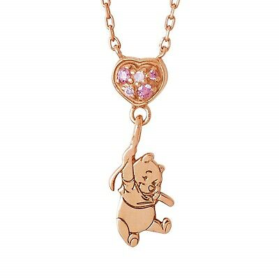 Disney Winnie the Pooh THE KISS silver cubic zirconia necklace pendant balloon