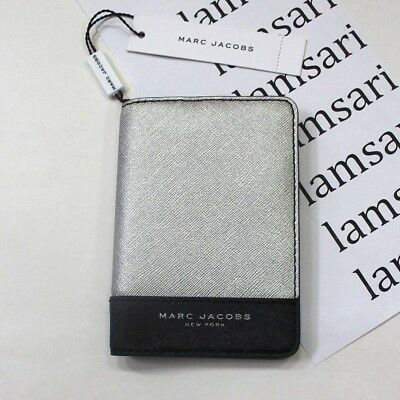 Marc Jacobs Saffiano Leather Passport Cover Holder Black & Silver M0013985