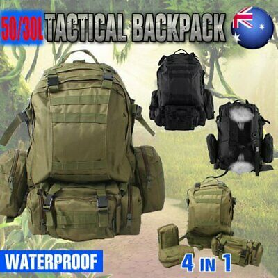 Outdoor 50L Molle Assault Tactical Military Rucksacks Backpack Camping Bag AUS